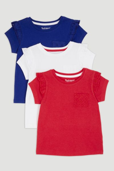 3 Pack Broderie Trim T-Shirts