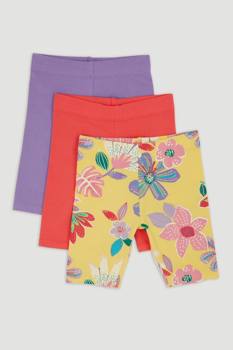 3 Pack Flower Jersey Cycle Shorts