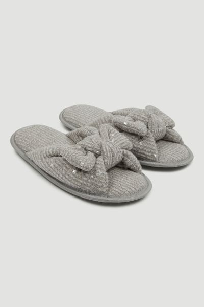 Grey Bow Slippers