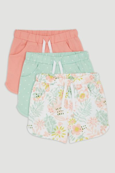 3 Pack Flower Jersey Shorts