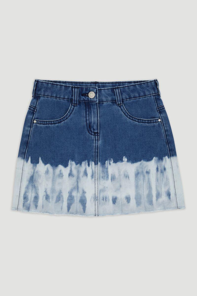 Dip Dye Raw Edge Denim Skirt