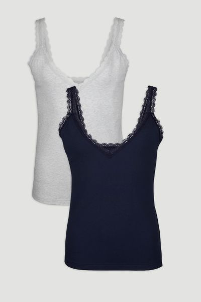 2 Pack Grey & Navy Lace Vests