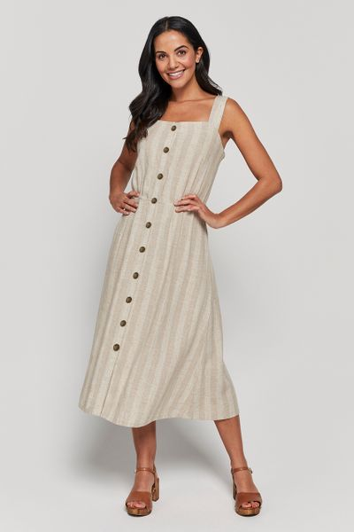 Natural Stripe Linen Rich Dress
