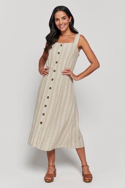 Natural Stripe Linen Rich Dress