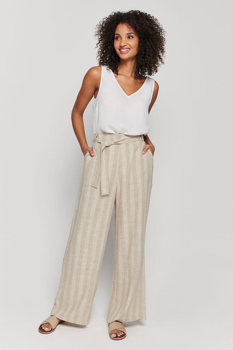 Natural Stripe Linen Rich Trouser