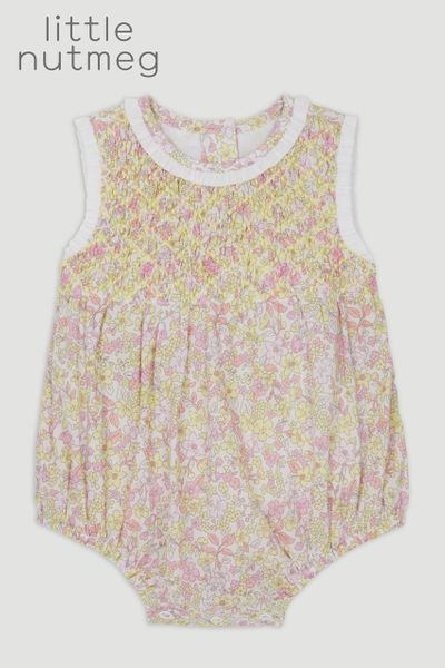 Little Nutmeg Smock Flower Romper