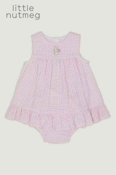 Little Nutmeg Pink Seersucker Dress & Pants Set