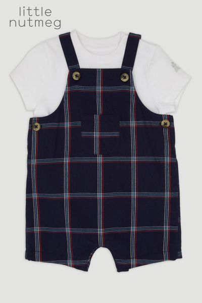 Little Nutmeg Navy Check Romper Set