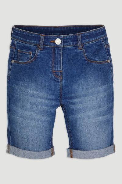 Mid-wash Denim Shorts