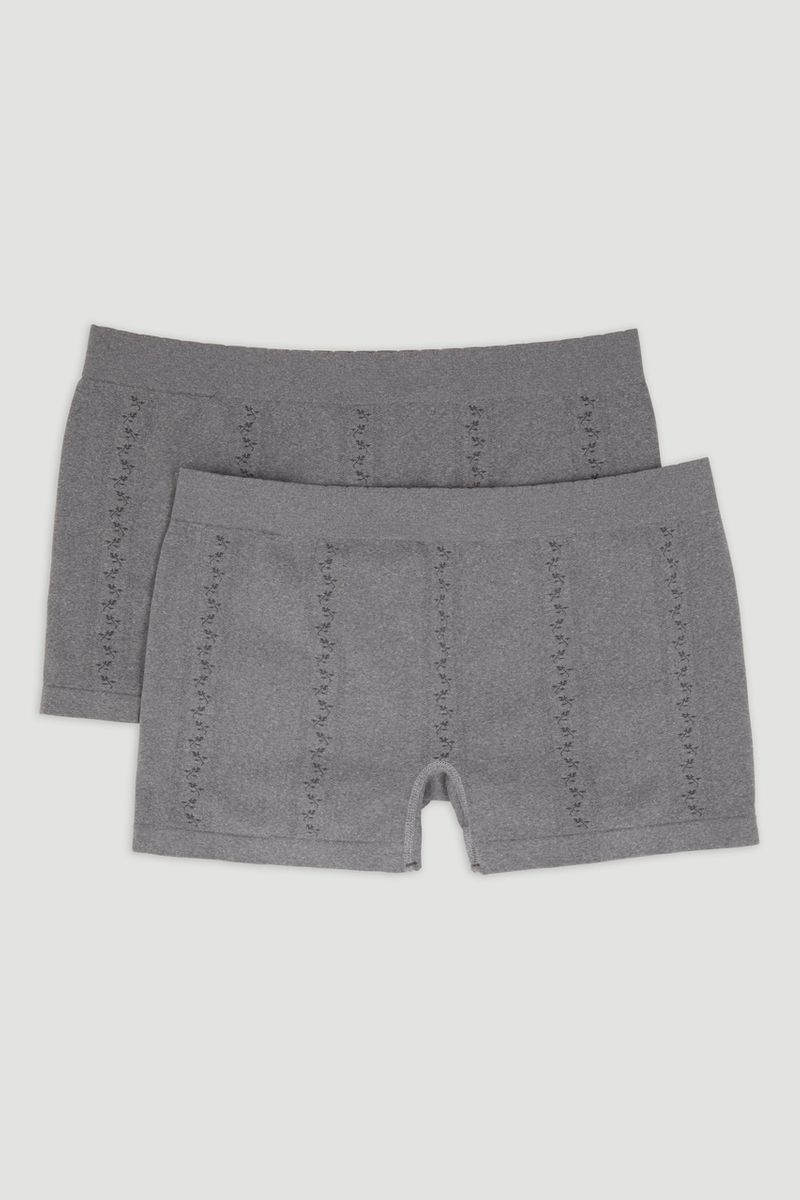 2 Pack Grey Seam Free Short