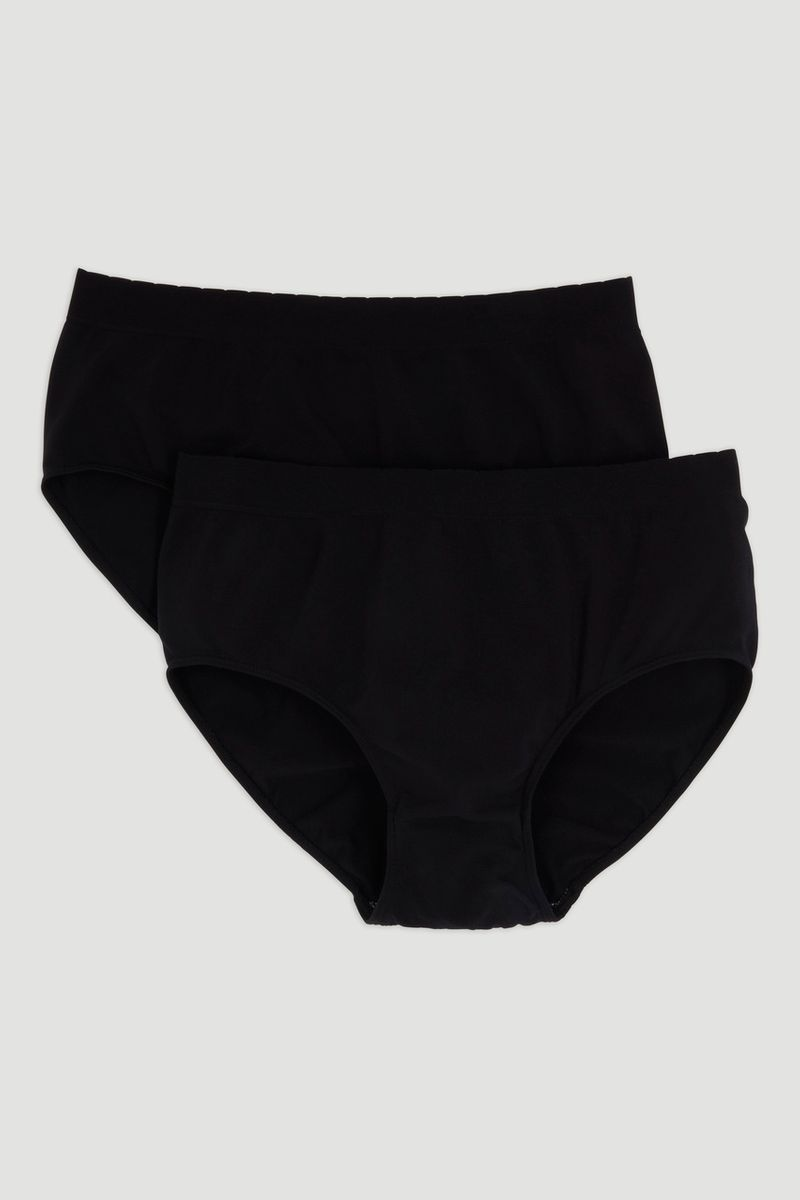 2 Pack Black Seam Free Brief