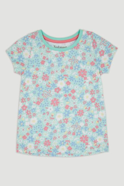 Light Blue Flower Print T-Shirt
