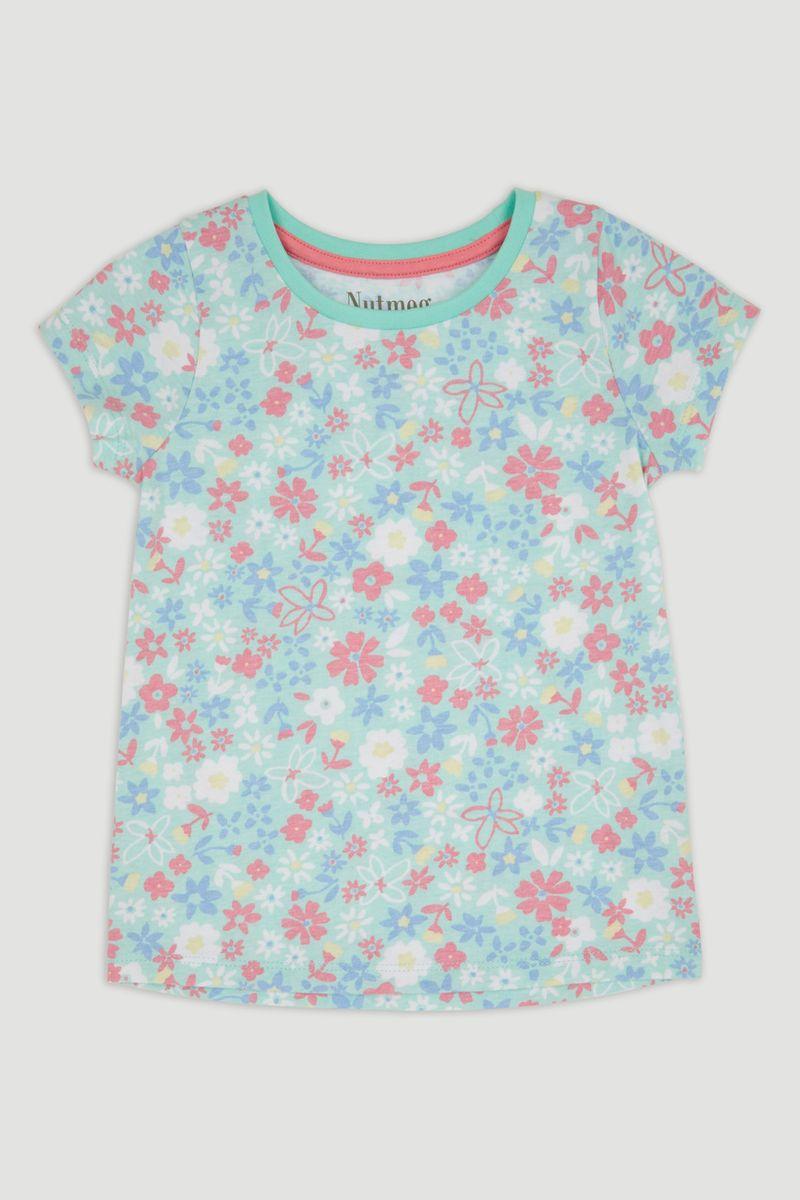 Light Blue Flower Print T-Shirt