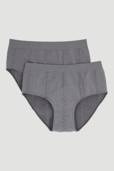 2 Pack Grey Seam-Free Full Briefs