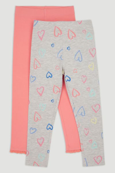 2 Pack Heart & Coral Leggings