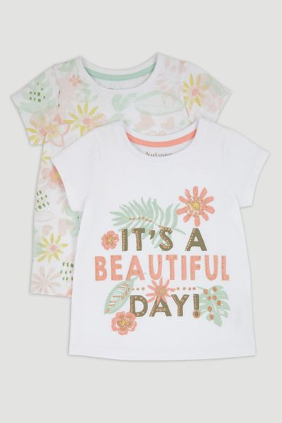 2 Pack Beautiful Day Slogan T-Shirt