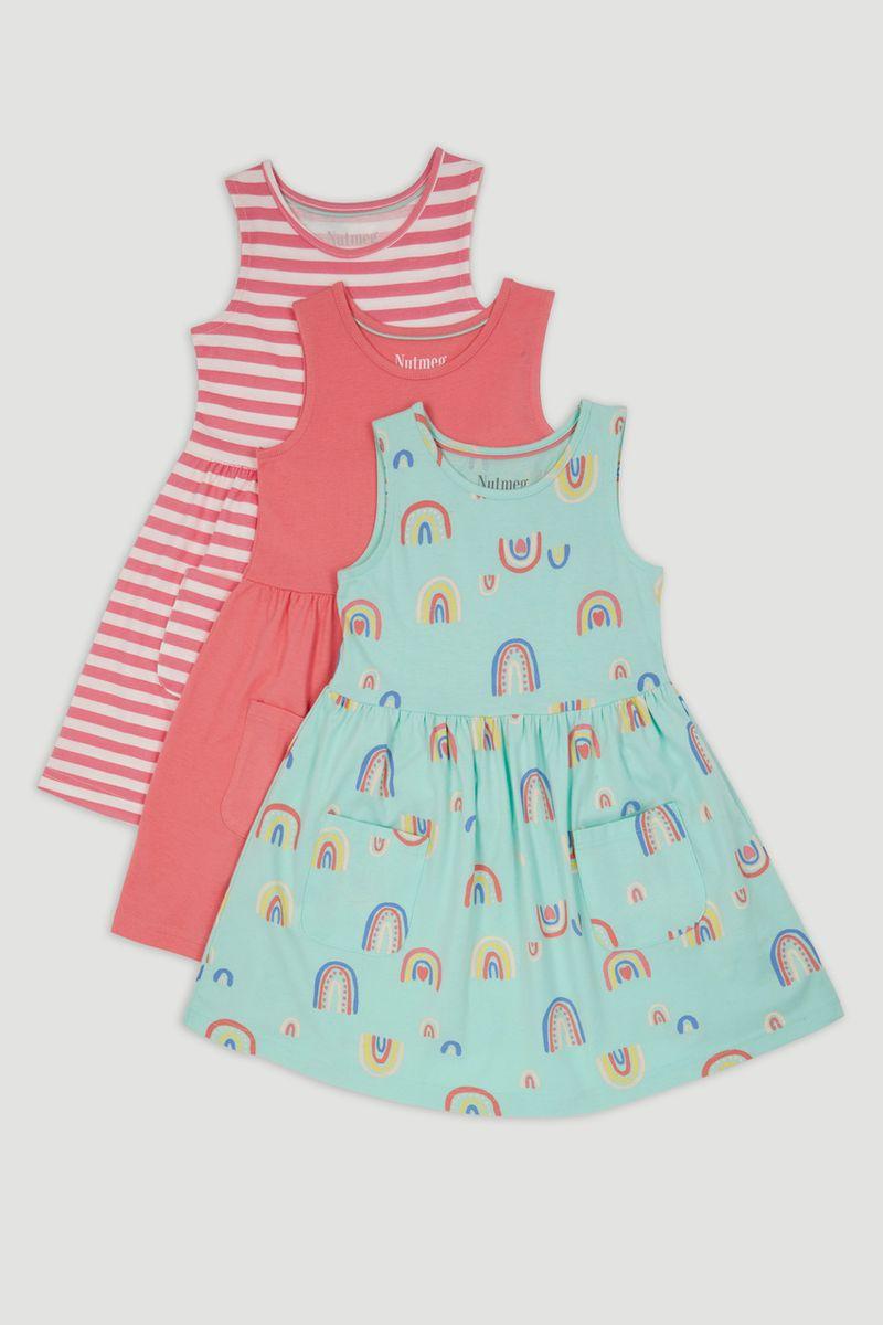 3 Pack Rainbow Dresses 1-10yrs