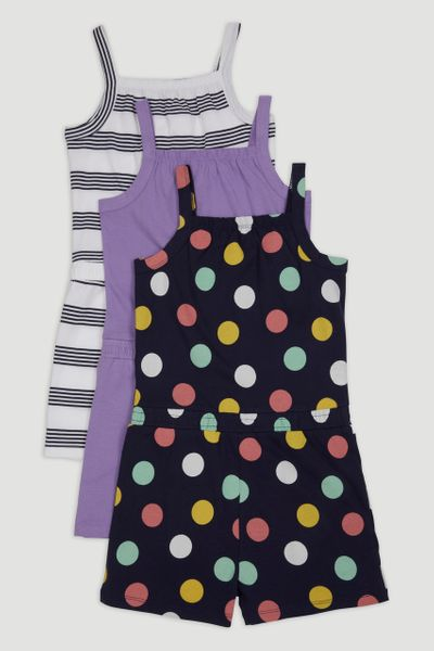 3 Pack Jersey Playsuits 1-10yrs