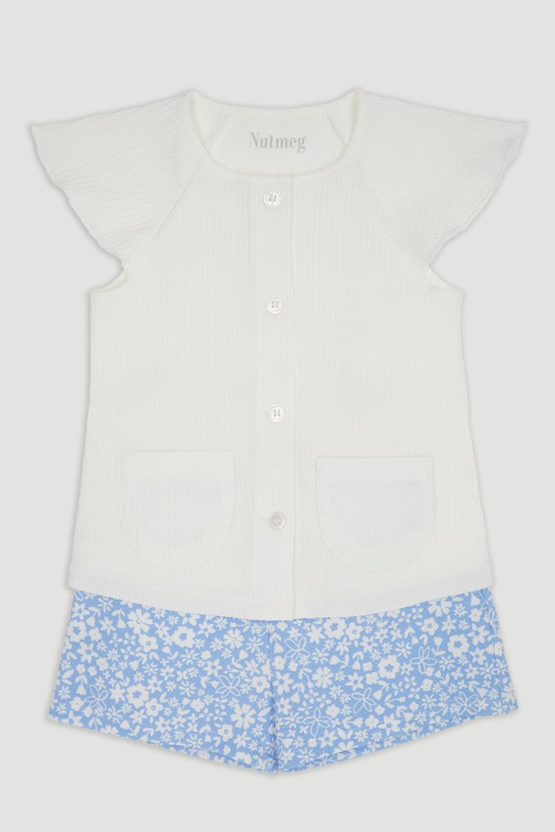 White Ponte Top & Flower Shorts