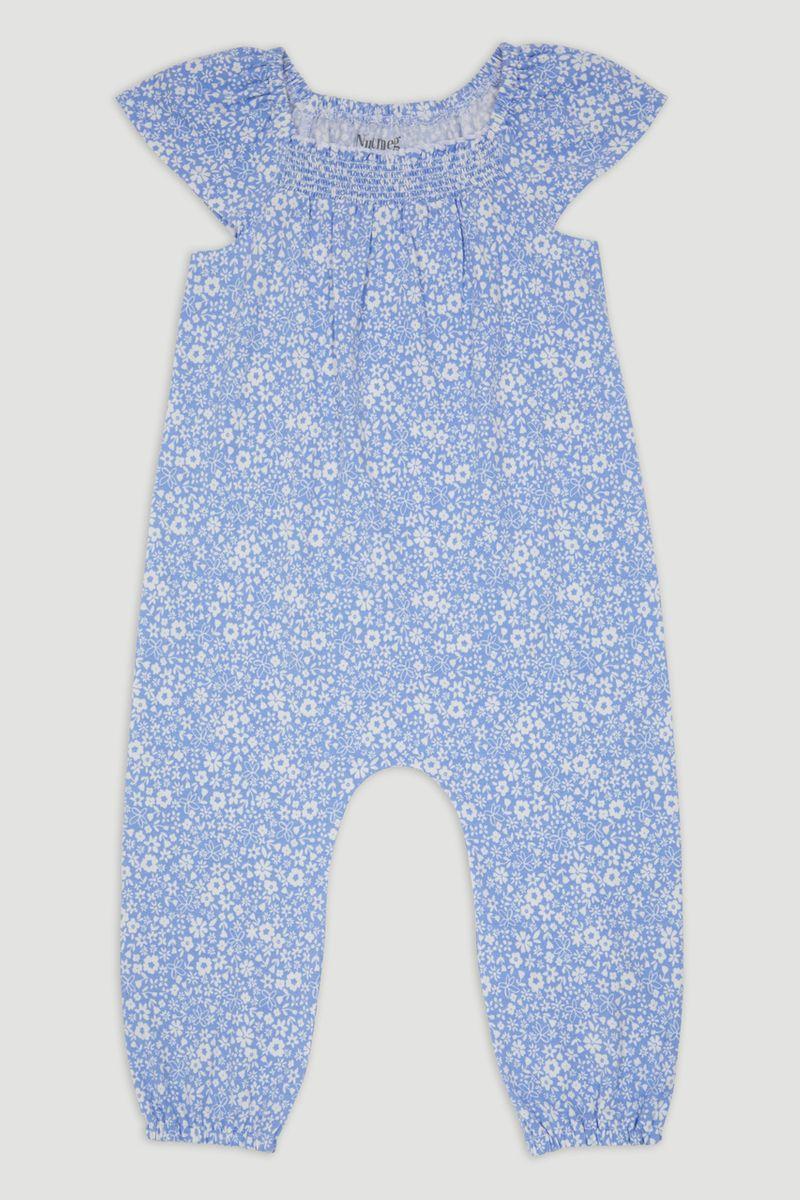 Blue Jersey Flower Playsuit