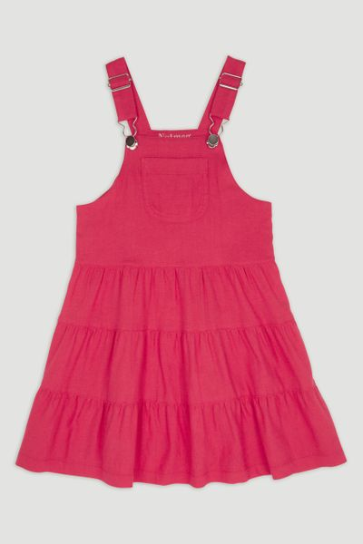 Coral Tiered Pinafore Dress