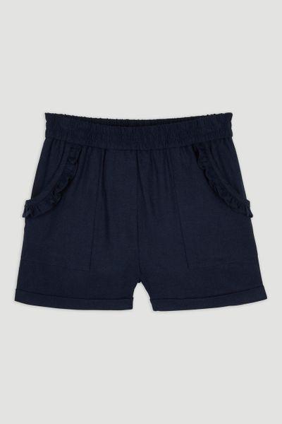 Navy Frill Linen Shorts