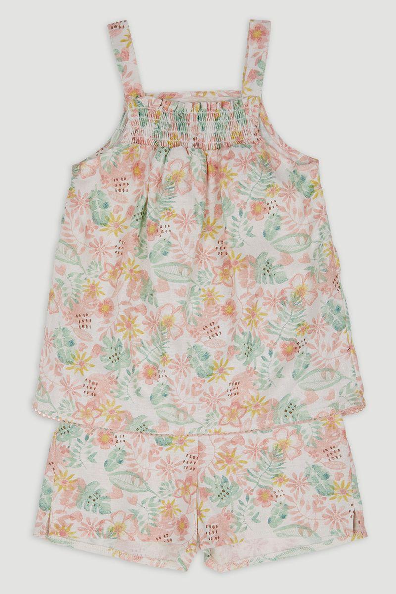 Woven Floral Shorts Set