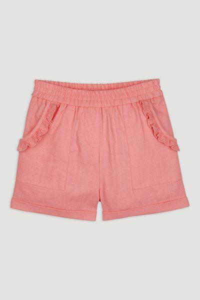 Pink Frill Linen Shorts