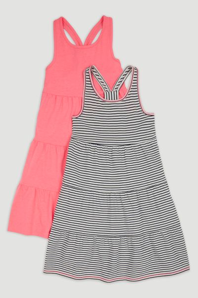2 Pack Stripe & Pink Jersey Dresses