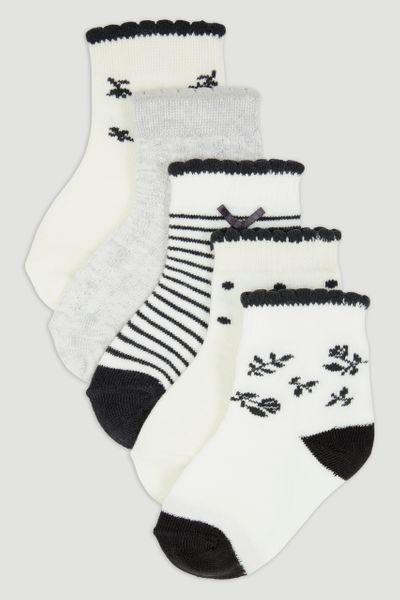 5 Pack Mono Flower Socks