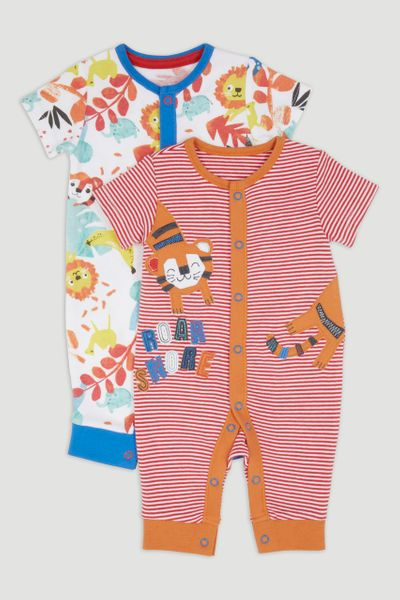 2 Pack Animal Footless Sleepsuits