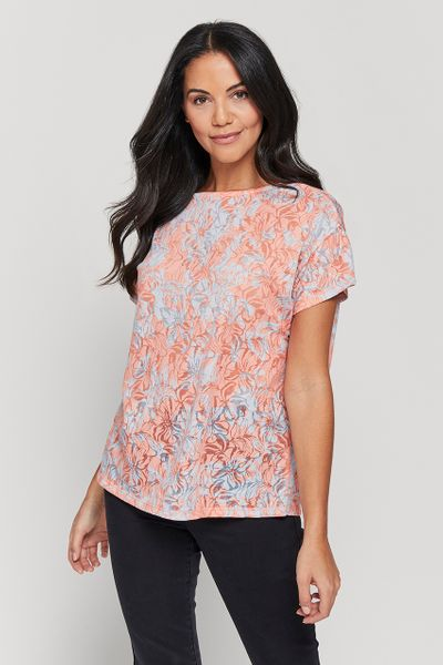Burnout Coral Floral Top