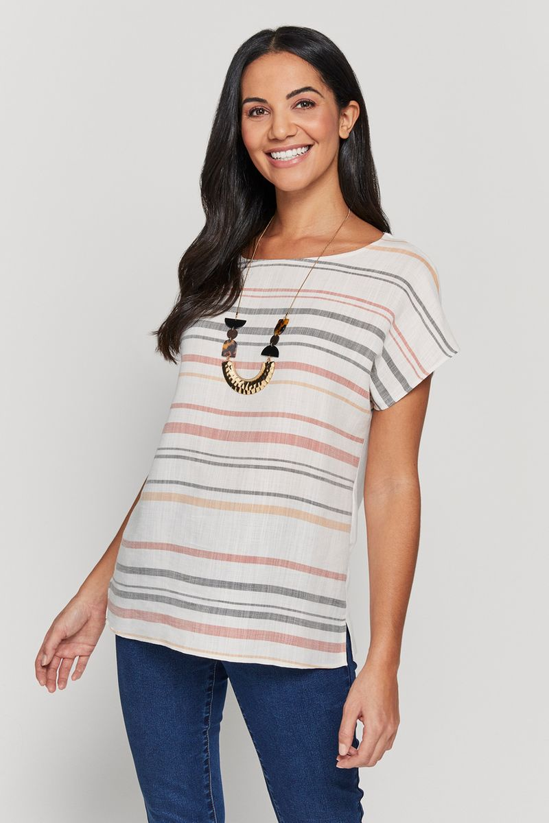 Natural Stripe Top with Necklace