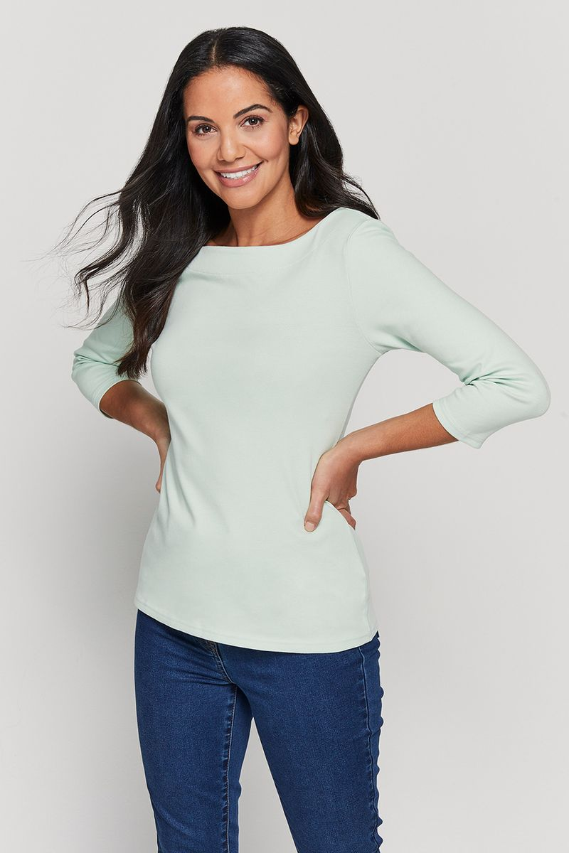 3/4 Sleeve Mint Bardot Top
