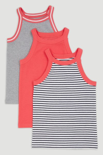 3 Pack Ribbed Vests