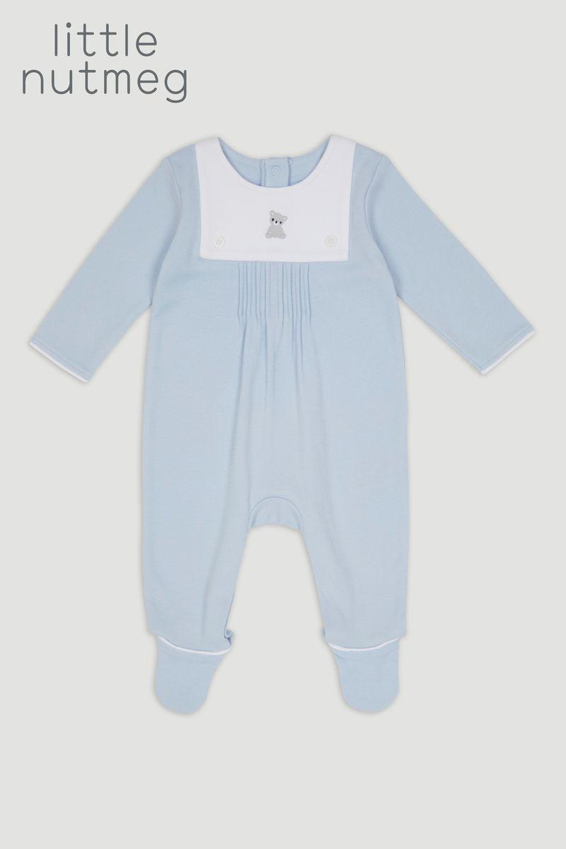 Little Nutmeg Blue Sleepsuit
