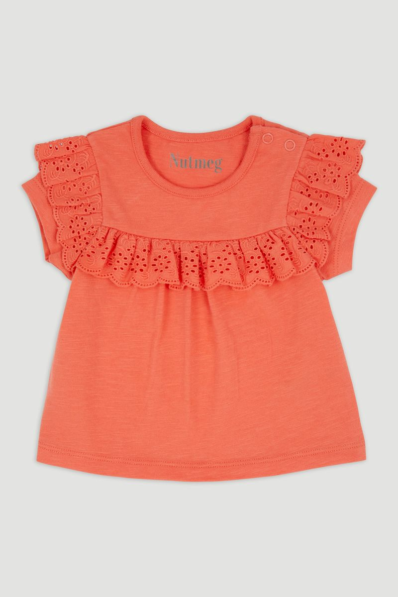 Coral Broderie T-Shirt