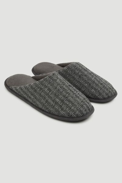 Grey Stripe Slippers