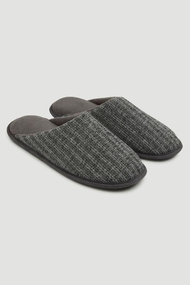 Grey Stripe Slippers