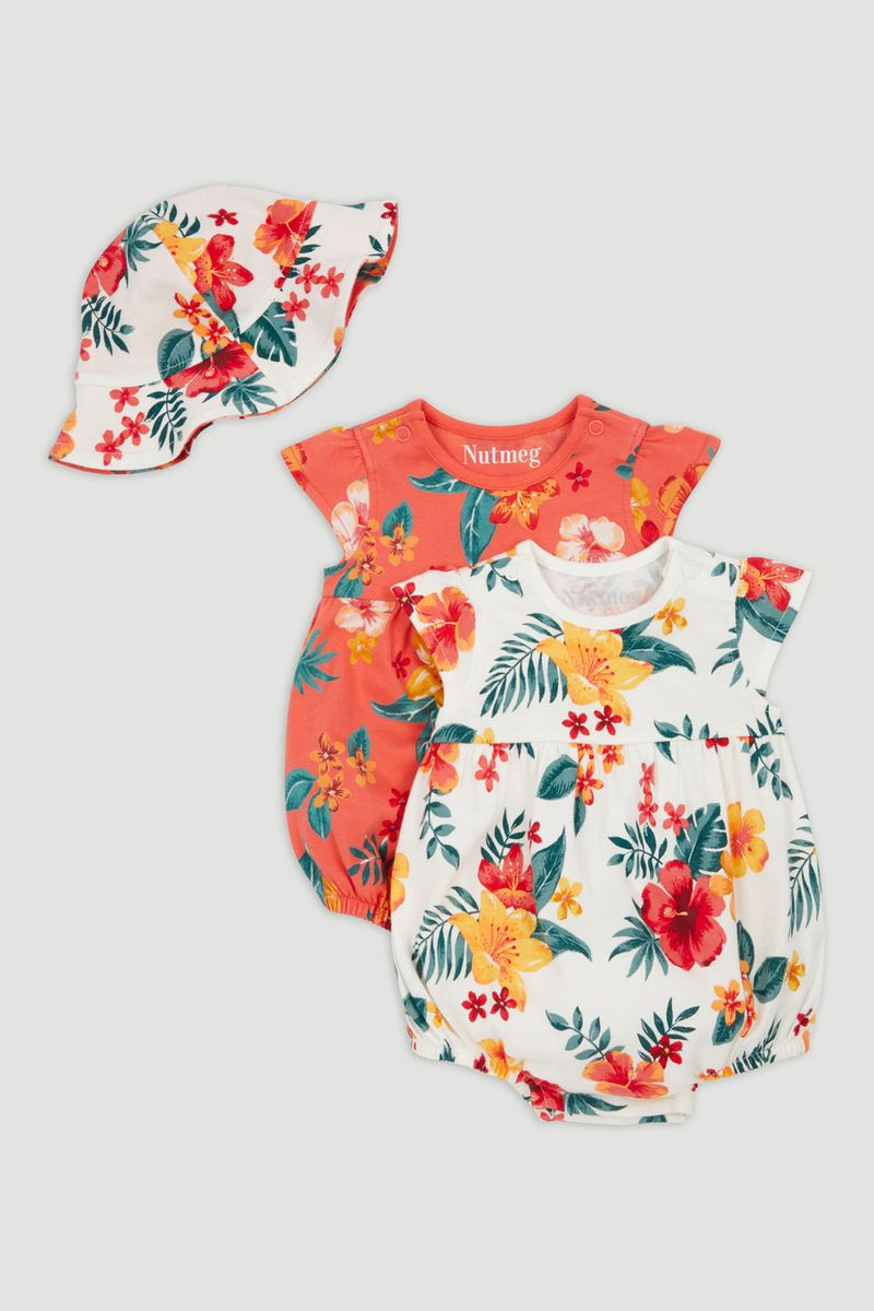 2 Pack Tropical Romper with Hat