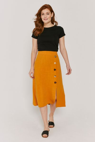 Ochre Button Skirt