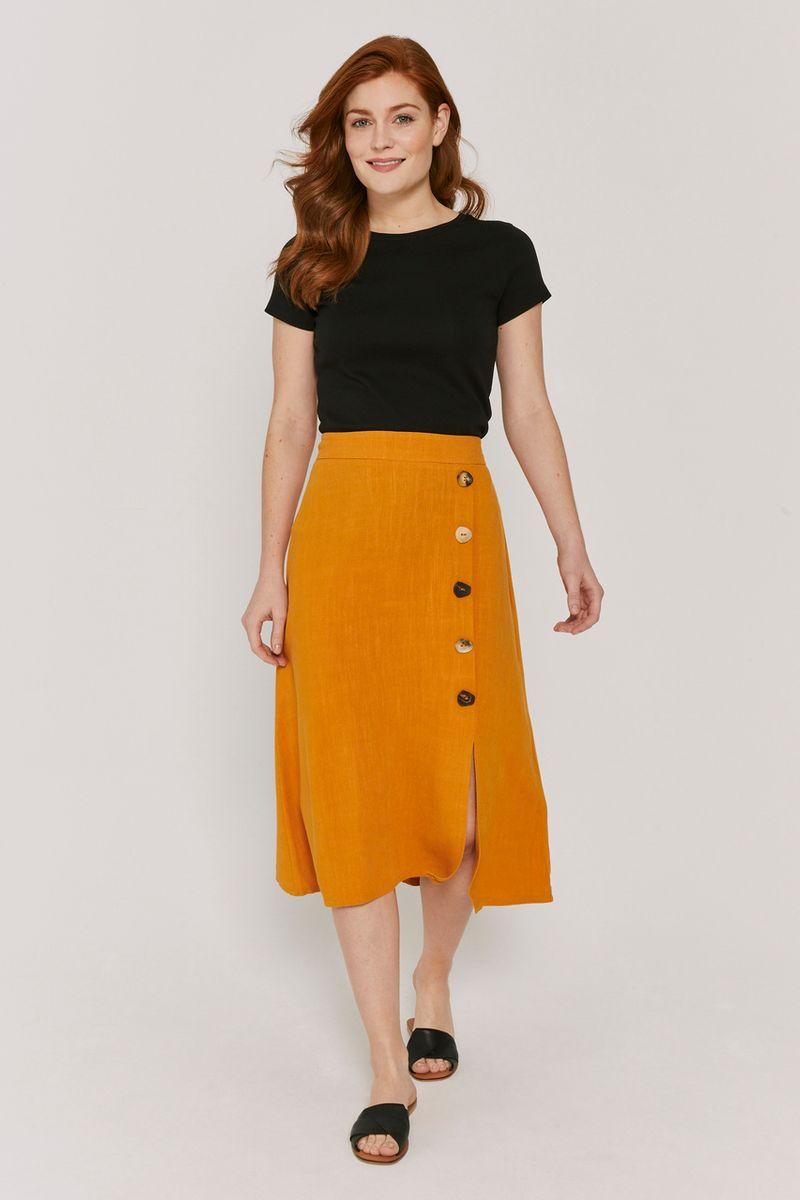 Ochre Button Skirt