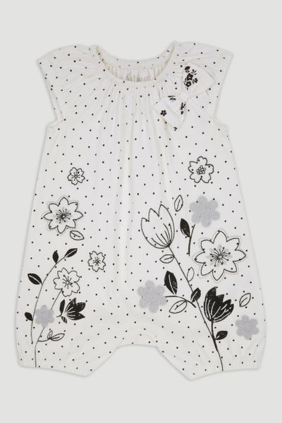 Monochrome Flower Romper