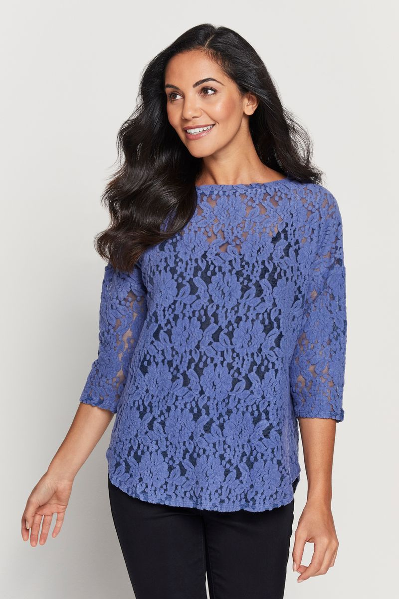 Blue Cosy Lace Top