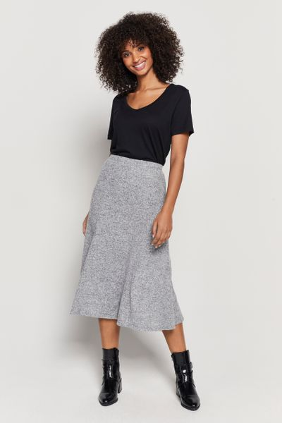 Grey Soft Touch Midi Skirt