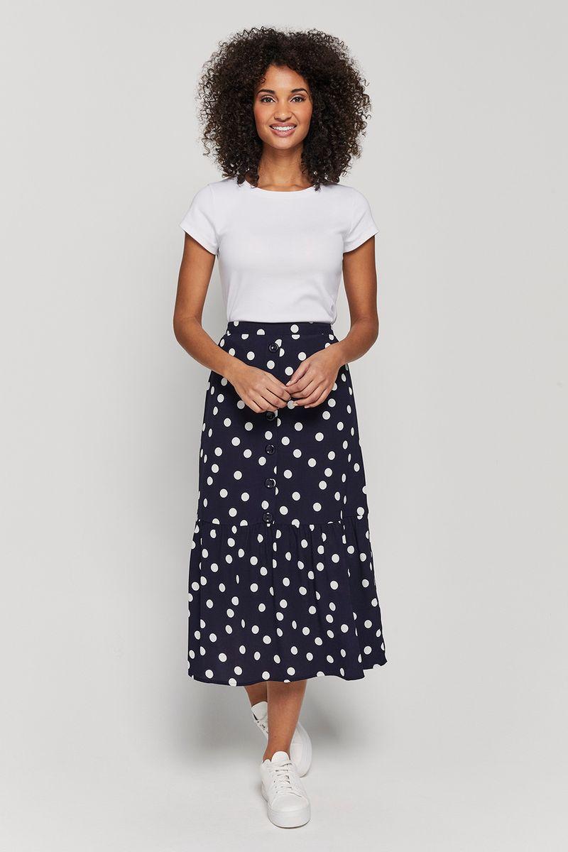 Navy Midi Spot Skirt