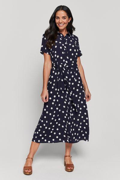 Navy Spot Midi Dress