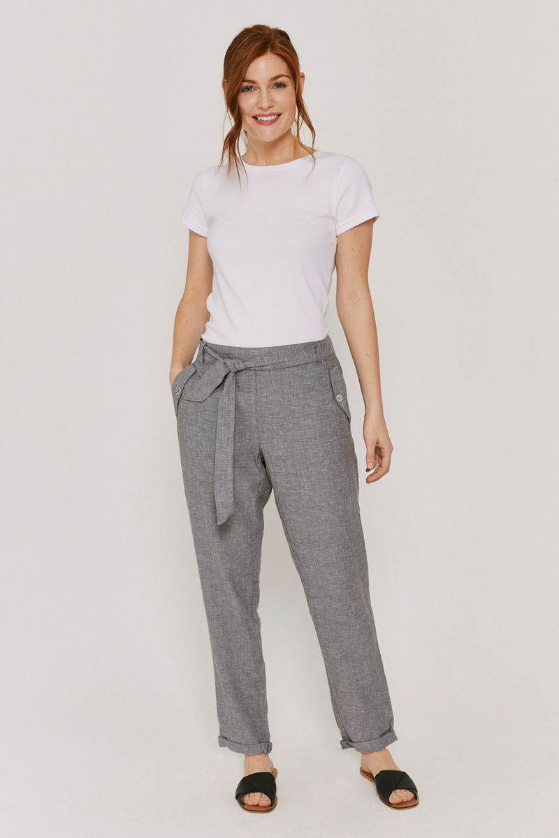Grey Linen Rich Tapered Trousers