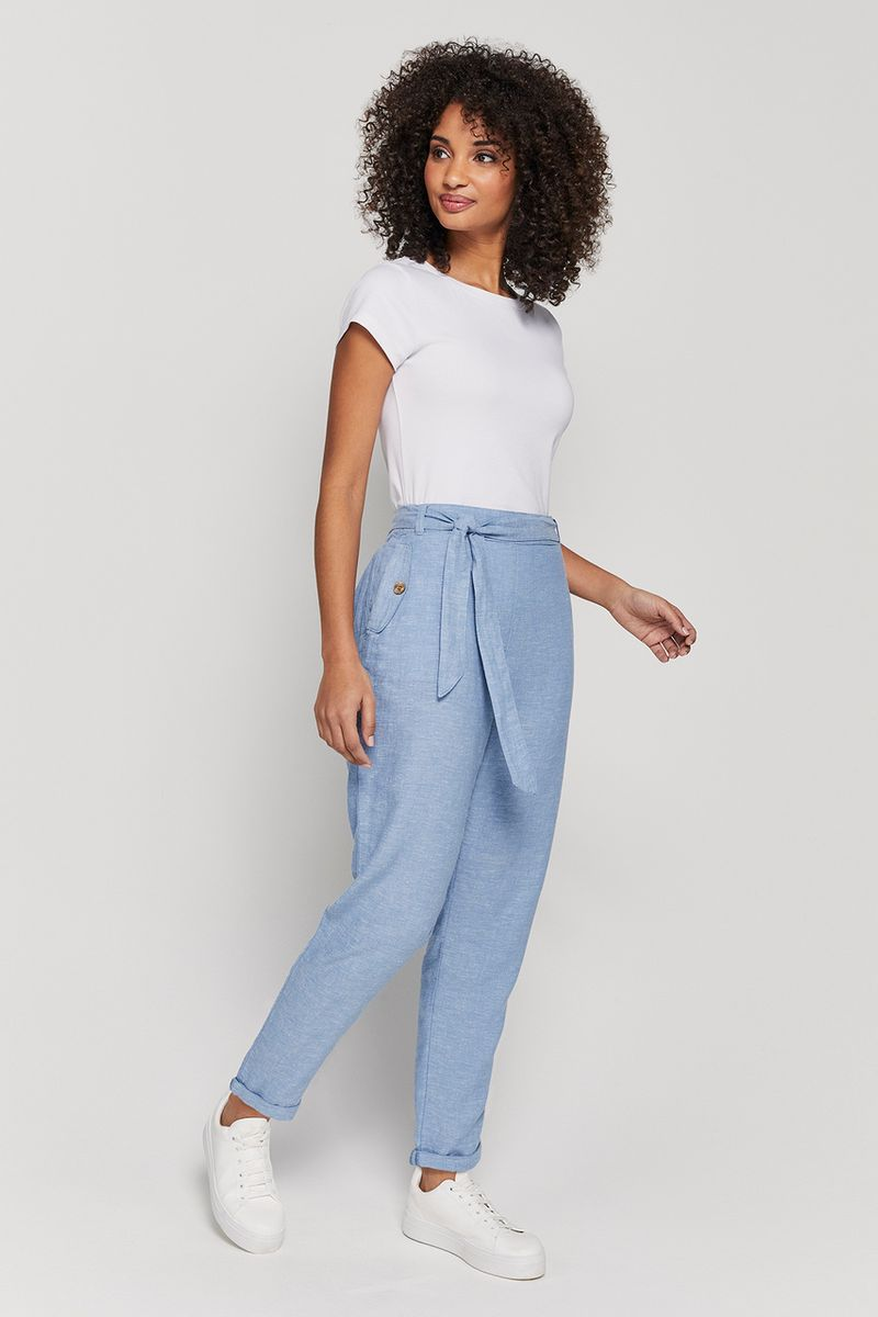 Light Blue Linen Rich Tapered Trousers