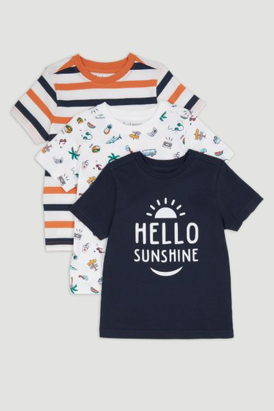 3 Pack Hello Sunshine Print T-Shirts